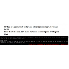 Write a program which will create 50 random numbers, between 0-200